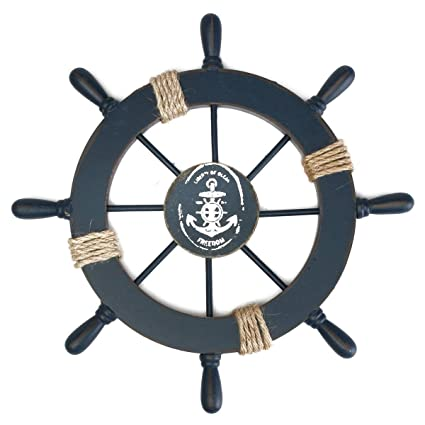 Amazoncom Rosenice Wooden Ship Wheel Nautical Boat Ship Wheel Wall