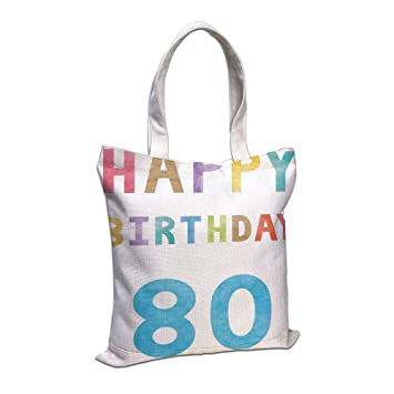IPrint Cotton Linen Tote Bag 80th Birthday DecorationsOld Ancient Abstract Vintage Happy