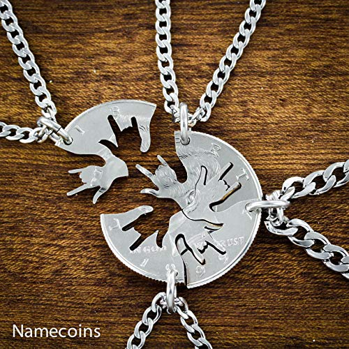 4 piece Best Friend Necklace, I love you hands in ASL cut on a half dollar, By NameCoins