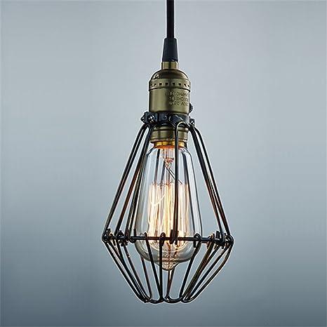 CLAXY Vintage Lámpara Colgante en forma de Jaula Retro Estilo Edison Industrial Lámpara de Techo