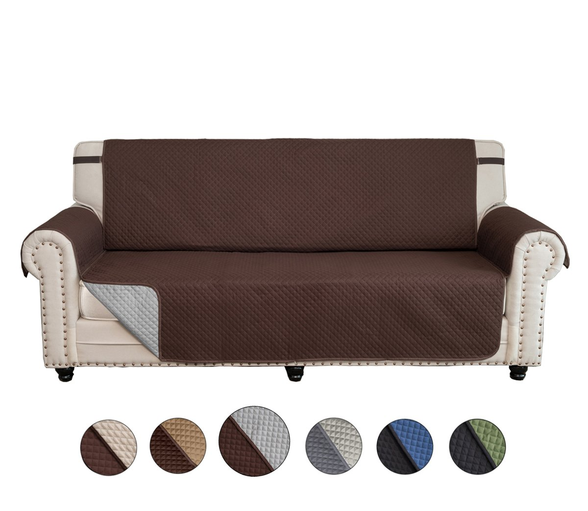 CALA Sofa Slipcovers,Covers,Reversible Couch Slipcover Furniture Protector with Elastic Straps,Covers Perfect for Pets and Kids,Machine Washable(Chocolate/Light Gray)