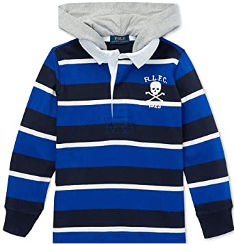f9116d49a Amazon.com  Polo Ralph Lauren Boys Striped Hooded Cotton Rugby Shirt ...