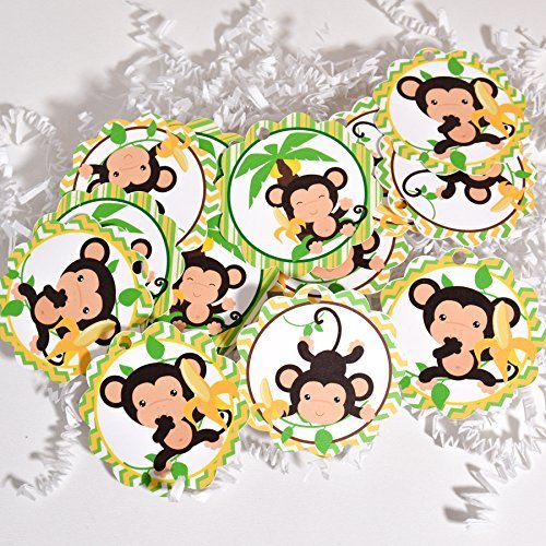 Monkey Birthday Favors - Monkey Party Favor Tags, Monkey Baby Shower Party Favor, Monkey Birthday Party Tags,