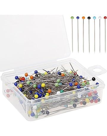 250 Piezas de alfileres de cabeza de vidrio alfileres de coser, borte 38 mm multicolor