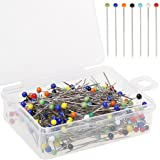 Color Scissor 250 Pieces Sewing Pins 38mm Ball Glass Head Pins Straight Quilting Pins for Fabric,Dressmaker Jewelry Decoratio