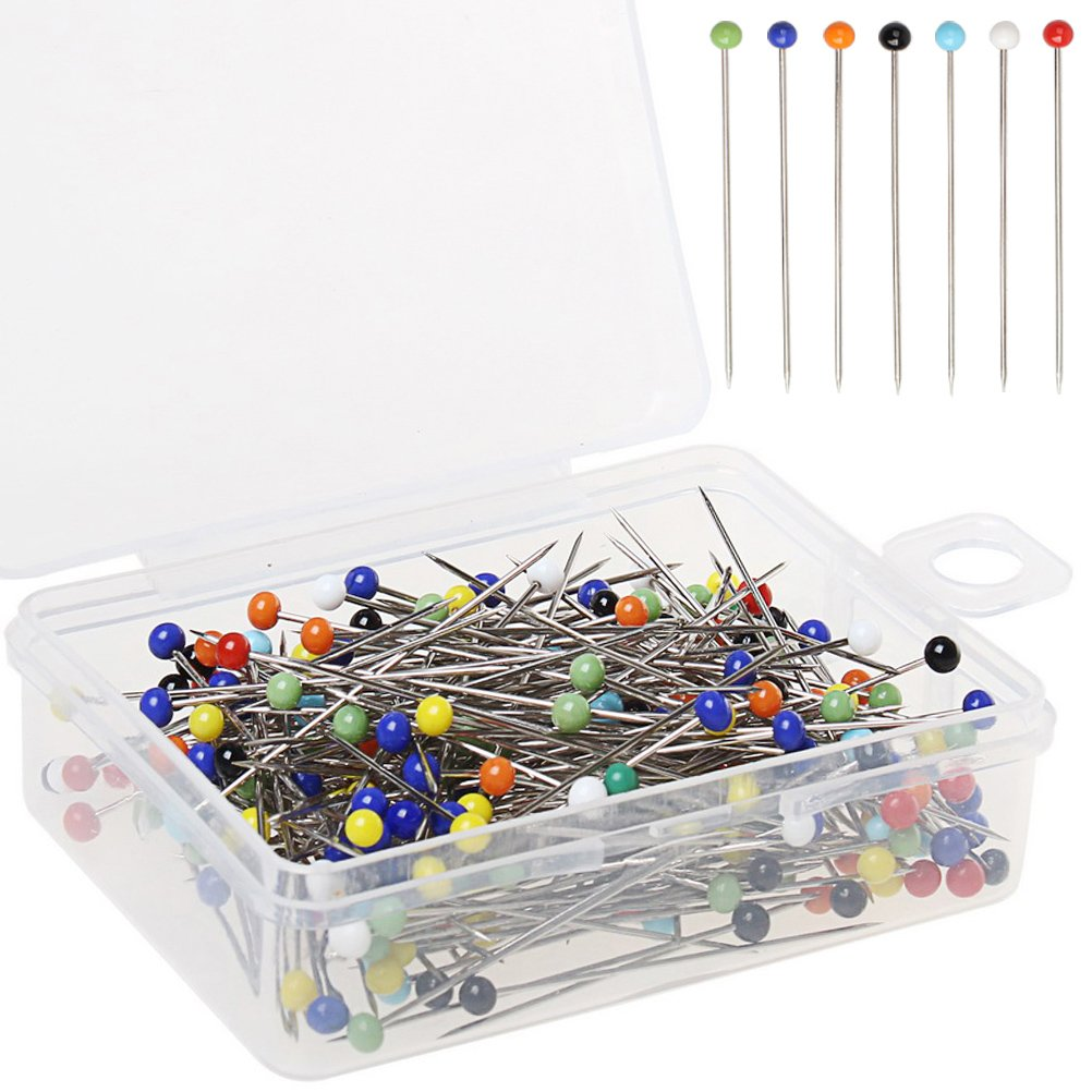 Color Scissor 800 Pieces Sewing Pins, Ball Glass Head Pins Straight Quilting Pins Including Sewing Seam Ripper, Soft Tape Measure and Pumpkin Pin Cushion for Dressmaker Jewelry Flower Decoration