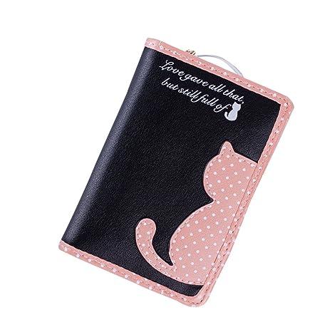 Grande capacità Titolare Donna Cerniera con Gatto borsa portafoglio Long  Borsette PU Borse Carta Portafoglio lungo 7934d0fec07