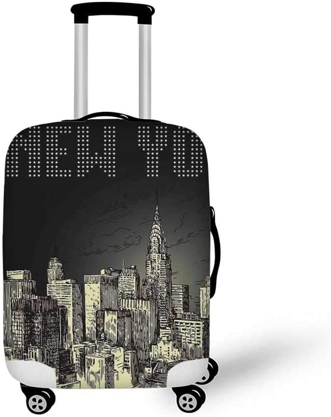 19.6W x 28.9H New York Stylish Luggage Cover,Aerial Cityscape Landmark Fourth of July Independence Penthouse Modern Art Image for Luggage,M