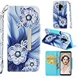 for Samsung Galaxy S9 Plus Wallet Case with Card Holder and Screen Protector,QFFUN Elegant Design [Blue Flower] Magnetic Stand Leather Phone Cases Drop Protection Etui Bumper Flip Cover with Lanyard