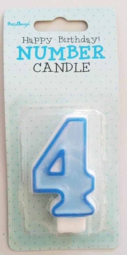 Partydeco - Vela número 4, Color Azul: Amazon.es: Hogar