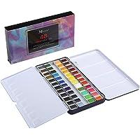 MEEDEN Art Watercolour Tin Palette Paint Case with 48 Colours Half Pan Paints Portable Watercolour Paint Set Navy Blue Enamel Exterior