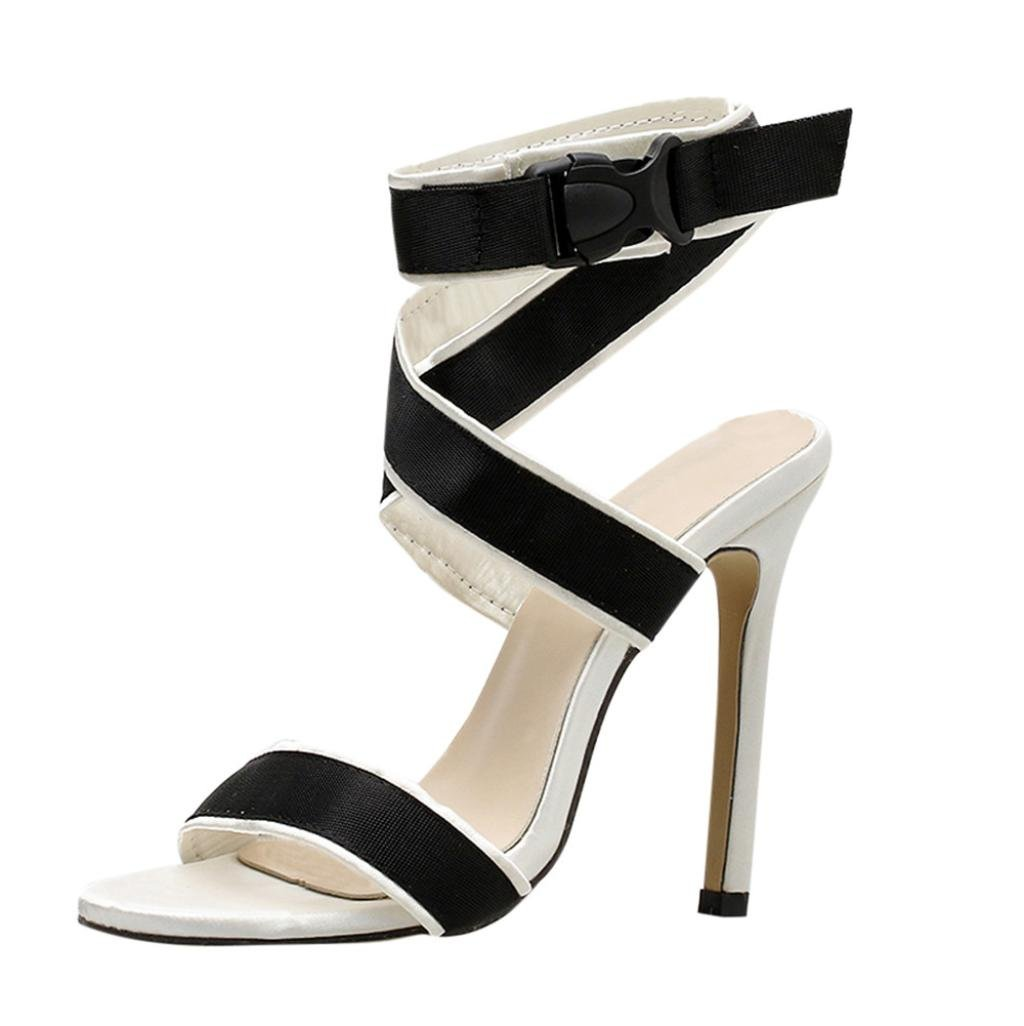 Womens Wedges Dress Sandals,Sexy Bandage High Heel Summer Shoes (White, US:6)