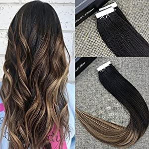 "Full Shine 20"" Balayage Tape in Hair Extensions Human Hair Skin Weft Hair Extensions Dip Dyed Color #1B Fading to #6 and #27 Honey Blonde 20 Pcs 50gram Per Package"