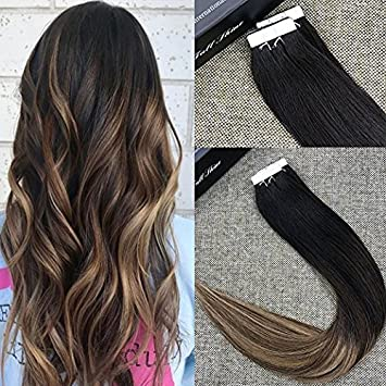 Full Shine 16quot Ombre Tape In Hair Extensions Human Glue Color 1B