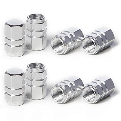 Circuit Performance VC2 Series Silver Aluminum Valve Stem Caps (8 Pieces): Automotive