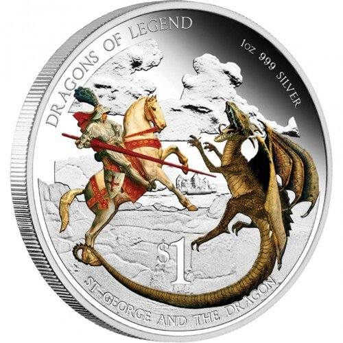 Tuvalu 2012 - $1 - Dragons of Legend - St. George and the Dragon - 1oz LIMITED Silver Coin