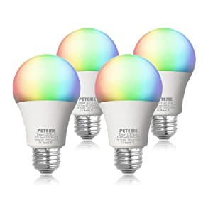 Peteme Smart LED Light Bulb E26 WiFi Multicolor Light Bulb Work with Alexa, Echo, Google Home and IFTTT (No Hub Required), A19 60W Equivalent RGB Color Changing Bulb (4 Pack)