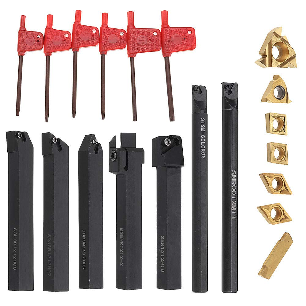 Lathe Rod Support Set for Turning Tools 7 mm 12 mm with Carbide Inserts