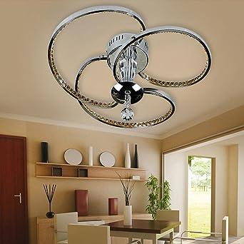 LED Kristall Deckenleuchte Modern Mode Rostfreier Stahl Deckenlampe 3 Ringe  Elegant Entwurf Hängende Beleuchtung Zum Schlafzimmer Wohnzimmer, ...