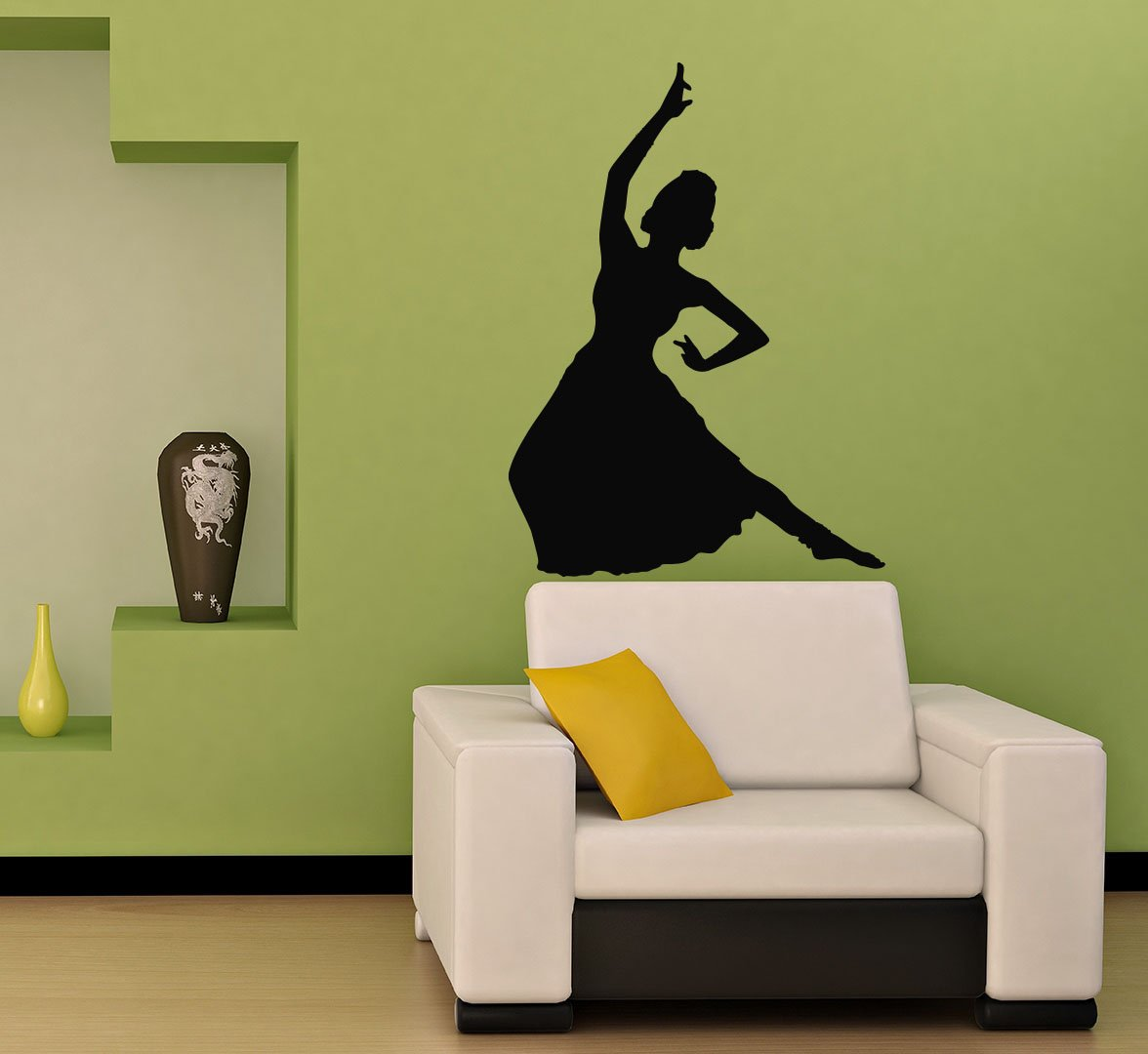Hindu Indian Girl Dancing Woman Silhouette Wall Vinyl Decal Art Sticker Home Modern Stylish Design Interior Decor for Any Room Smooth and Flat Surfaces Housewares Murals Window Graphic Dance Studio Living Room Bedroom (3911)
