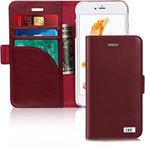 """FYY Genuine Leather Case for iPhone 8/iPhone 7/iPhone SE (2nd) 2020 4.7"""" [RFID Blocking] [Kickstand] Flip Folio Wallet Case with Card Slots for Apple iPhone 8 2017/7 2016/SE(2nd) 2020 4.7"""" Wine Red"""