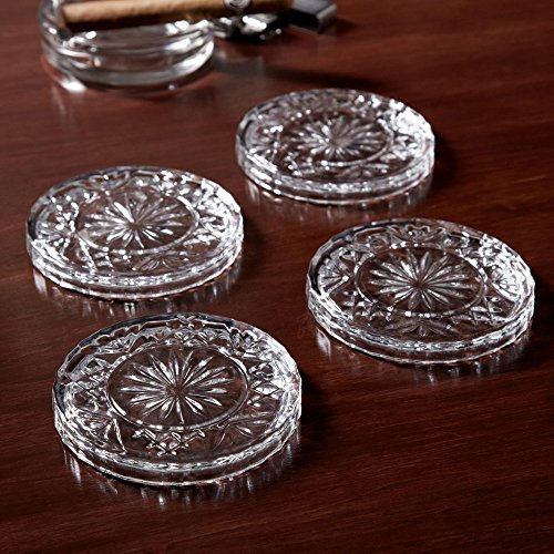 Amazing Quality Drink Crystal Coaster Set (4pc), Sleek Modern Crystal Design. Prevents Furniture Damage, Absorbs Spills and Condensation