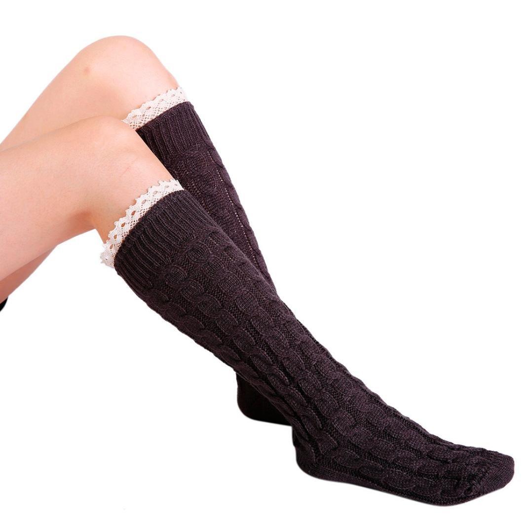 ... Honhui Lady Winter Warm Leg Warmer Knit Crochet Twist Lace Slouch Boot  Socks 8b783ba695ce