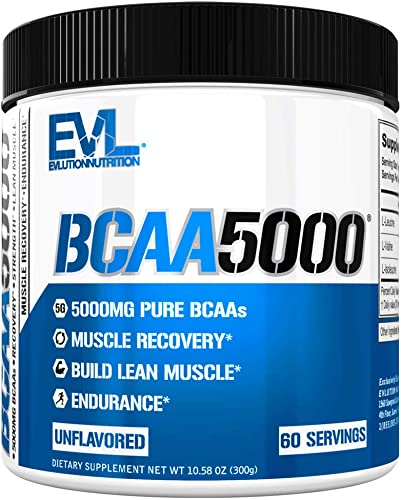 Evlution Nutrition BCAA5000 Powder 5 Grams of Branched Chain Amino Acids BCAAs Essential for Performance, Recovery, Endurance, Muscle Building, Keto Friendly, Zero Sugar, 60 Servings, Unflavored