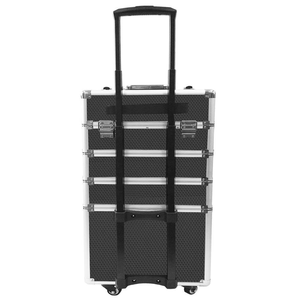 SAILUN 4 couches cas cosm/étiques beaut/é aluminium Maquillage Chariot avec le t/élescopique et 4 roues 350 Noir+ 250 770 mm
