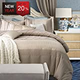 Luxury Duvet Cover Set Queen Silk Vintage European Style Solid Champagne Duvet Cover Sets with Ling Plaid, Hotel Washed Silk Fold Design Soft Elegant Romantic Bedding Sets by LifeTB