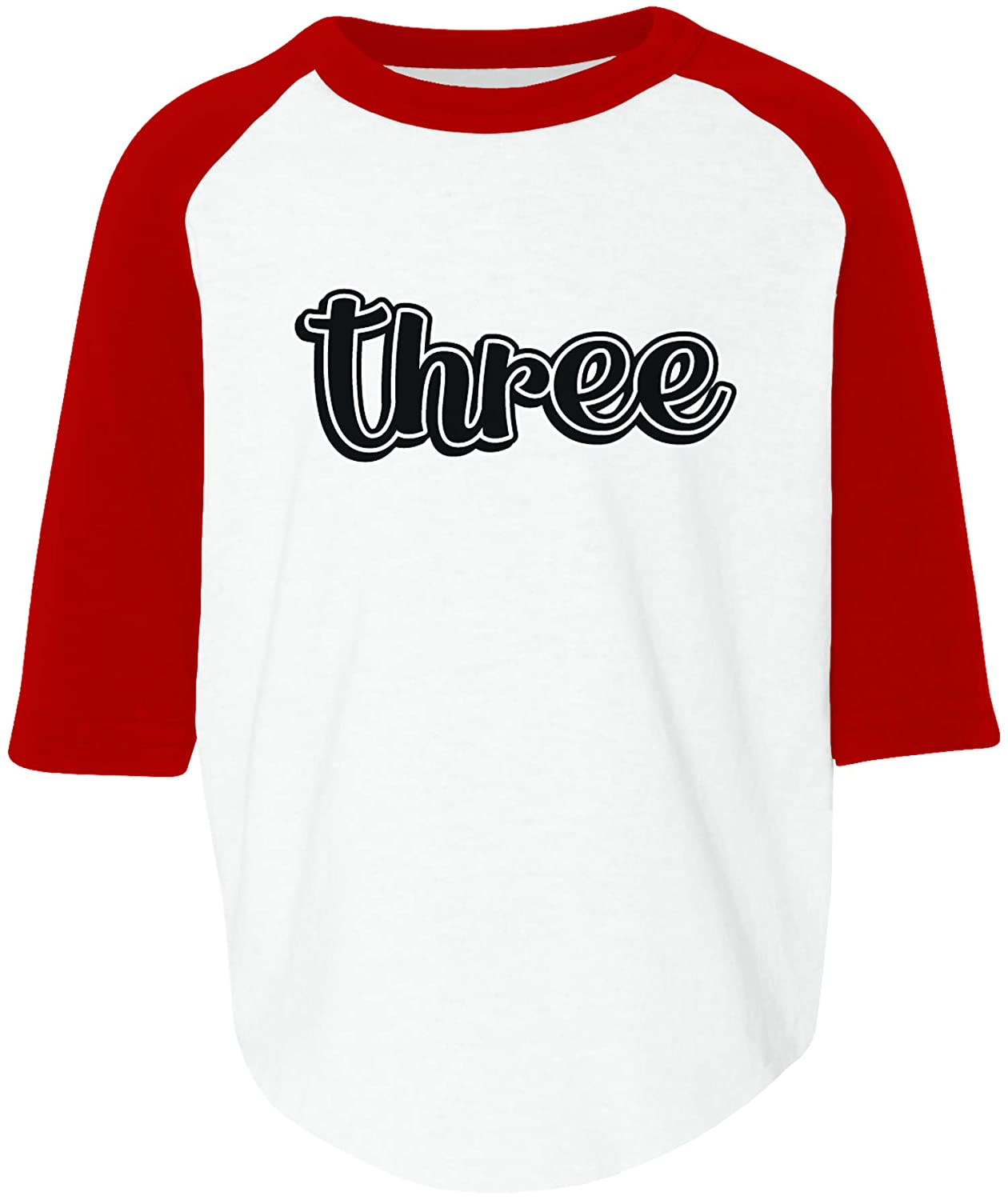 Amdesco Three 3 Year Old Birthday Toddler Raglan Shirt