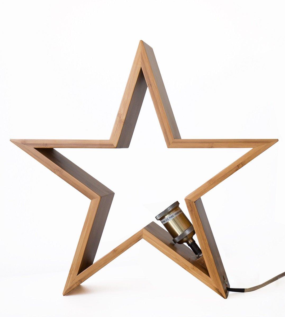 Stern Lampe Bambus Holz Tischleuchte Hangeleuchte Dekoleuchte O44cm