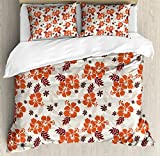 Hawaii Duvet Cover Set Queen Size by Ambesonne, Abstract Aloha State Floral Pattern Hibiscus Spring Holiday Theme Design, Decorative 3 Piece Bedding Set with 2 Pillow Shams, Orange Ruby Dark Taupe