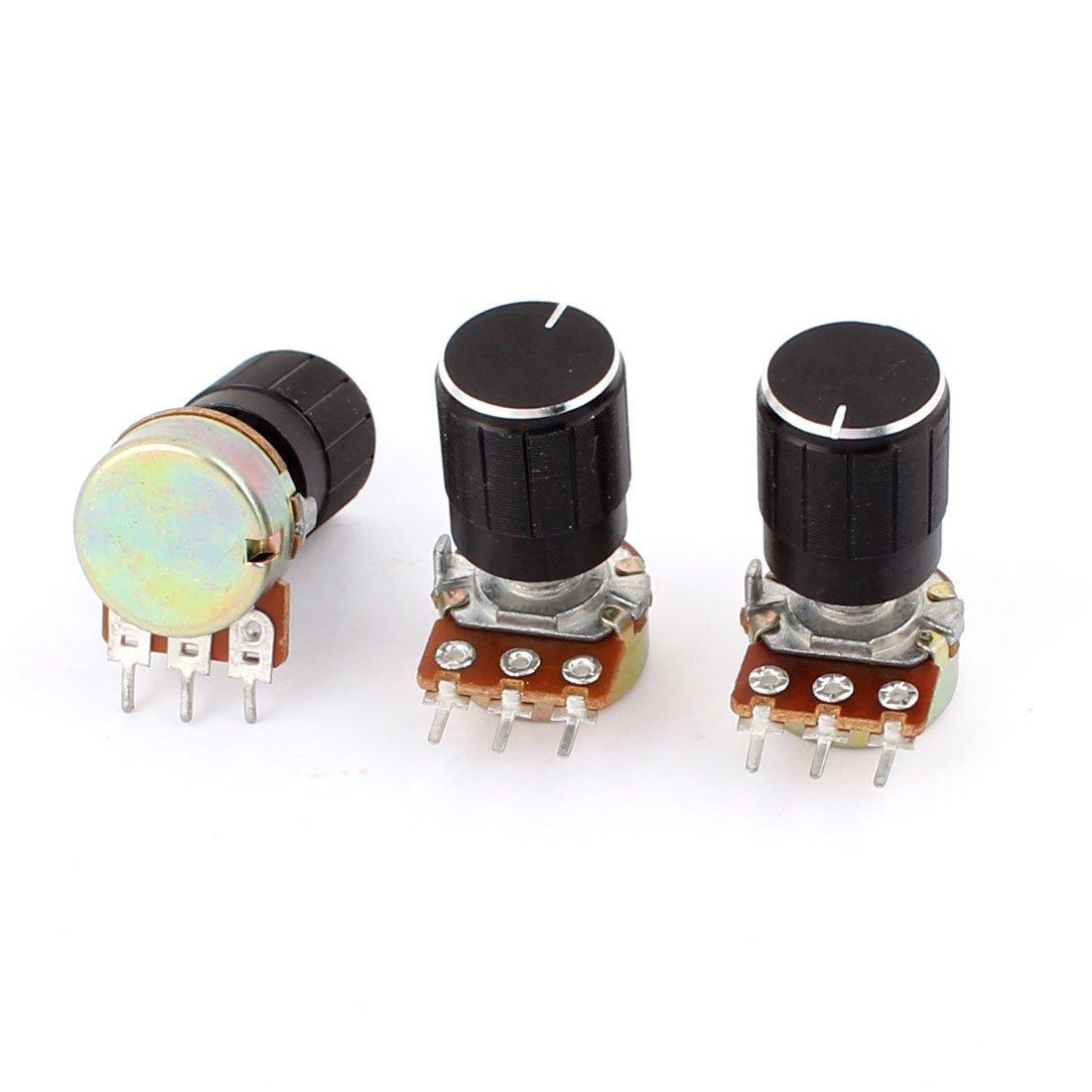 3 Piezas B5K 5K Ohm Metal 3 Terminales Sencillo Lineal Potenci/ómetro
