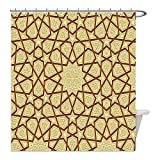 Liguo88 Custom Waterproof Bathroom Shower Curtain Polyester Antique Decor Arabesque Star Shapes on Retro Design with Fractures Classic Islamic Eid Mosque Print Decor Cream Brown Decorative bathroo
