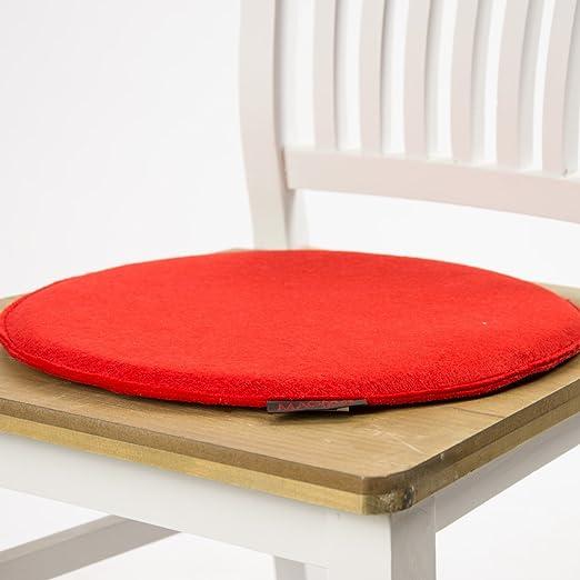 Silla Cojín Avaro Fieltro redondo rojo 35 x 2 cm: Amazon.es ...