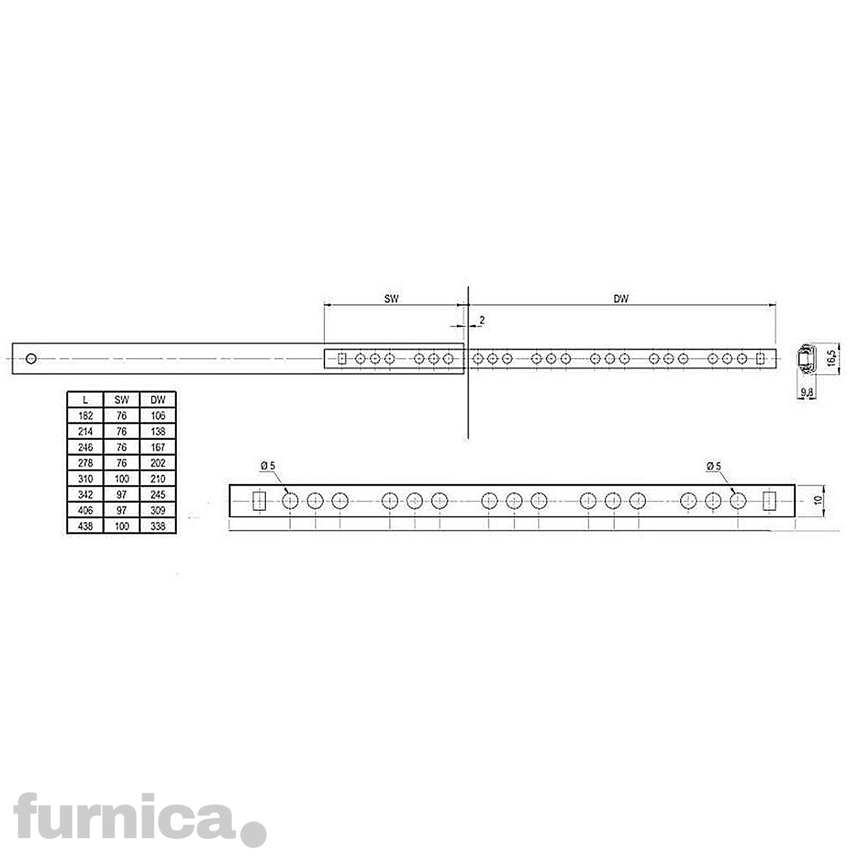 278mm FURNICA 2 Schubladenschienen Teilauszug Rollenauszug Teleskopschiene Kugelf/ührung H17 L