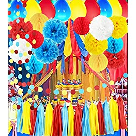 Circus Party Supplies/Carnival Party Supplies Curious George Birthday/Carnival Birthday Party Ideas/Circus First Birthday Party Turquoise Red Yellow Ballons Greatest Showman Party Decorations
