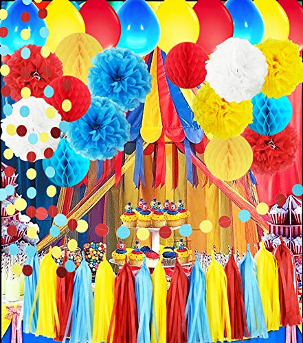 Carnival Party Supplies Curious George Birthday/Carnival Birthday Party Ideas/Circus First Birthday Party Tissue Pom Pom Honeycomb Ball Turquoise Red Yellow Ballons Greatest Showman Party Decorations]()