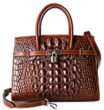 Pijushi Embossed Crocodile Purse Genuine Leather Satchel Handbags Office Padlock Bag Holiday Gift 9016(30cm Brown Croco)