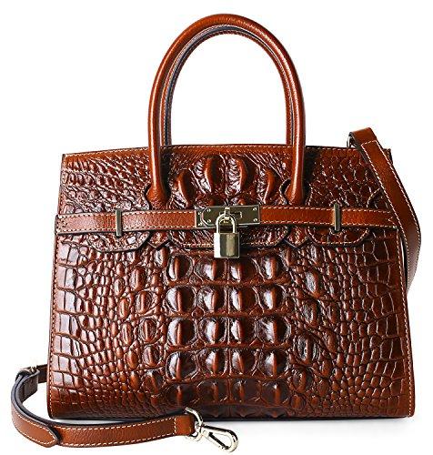 Embossed Front Pocket Tote Handbag (Pijushi Embossed Crocodile Purse Genuine Leather Satchel Handbags Office Padlock Bag Holiday Gift 9016(30cm Brown Croco))