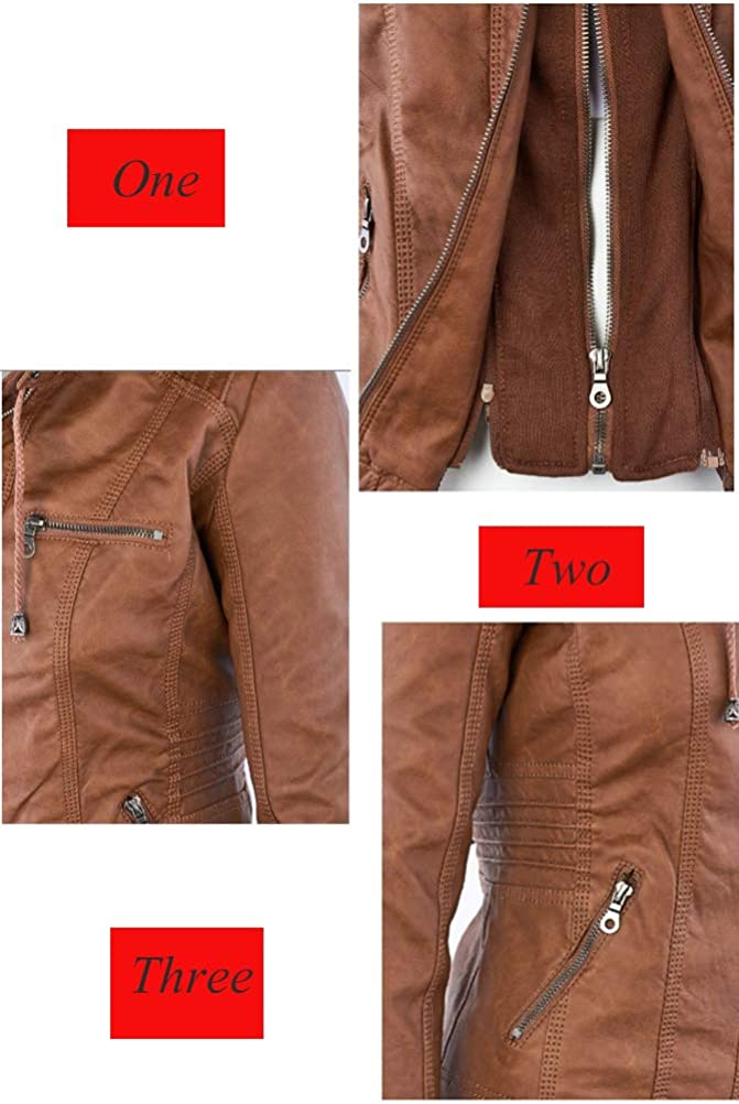 Minibee Womens Faux Jacket Leather Motorcycle PU Moto Biker Coat with Hoodie XS-4XL