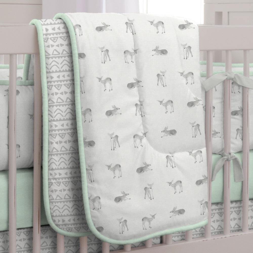 Carousel Designs Silver Gray and Mint Fawn Crib Comforter