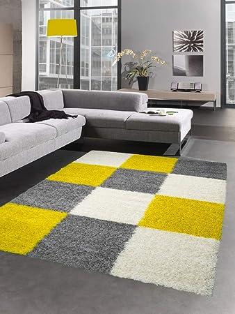Carpetia Shaggy Teppich Hochflor Langflor Bettvorleger Wohnzimmer Teppich  Läufer Karo gelb grau Creme Größe 160x230 cm