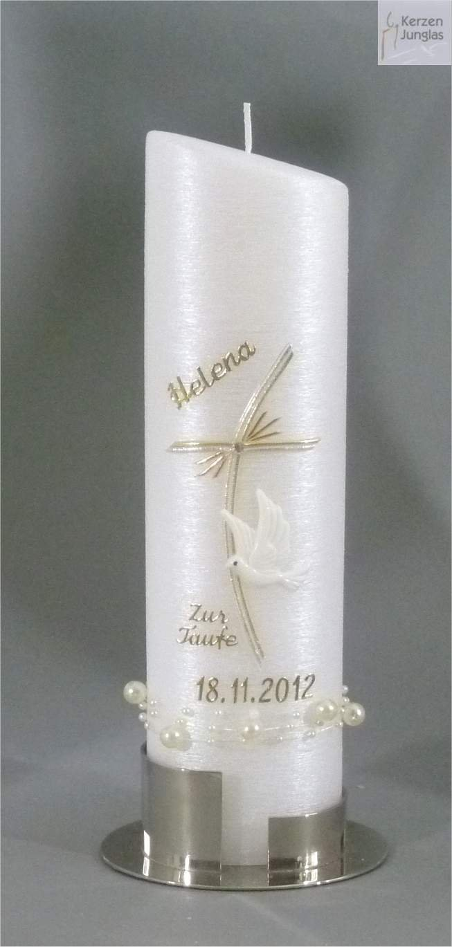Taufkerze modern Ovalform 24-6 cm - Silber -1088- mit Namen und Datum - Perlmutt-Struktur und Perlenband - Kerze zur Taufe 240-