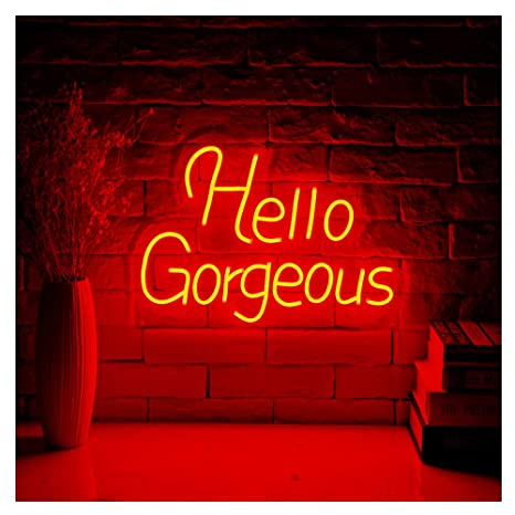 Hello Gorgeous LED Neon Sign Lights Art Wall Decorative Lights  16 5''x11 7''(Hello Gorgeous-Red)