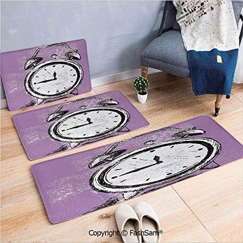 FashSam 3 Piece Flannel Bath Carpet Non Slip Retro Alarm Clock Figure with Grunge Effects Classic Vintage Sleep Graphic Front Door Mats Rugs for Home(W15.7xL23.6 by W19.6xL31.5 by W31.4xL47.2) ()