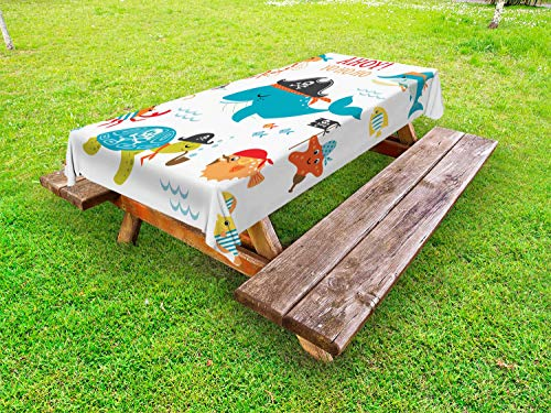Standard Hook Captain (Lunarable Pirate Outdoor Tablecloth, Ahoy Pirate Whale Turtle Pipe Hook Crab Octopus Captain Seastar and Swordfish Art, Decorative Washable Picnic Table Cloth, 58 X 104 Inches, Multicolor)