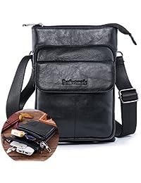 Mens Shoulder Bag, Leather Cross Body Messenger Purse Travel bag Pack Organizer