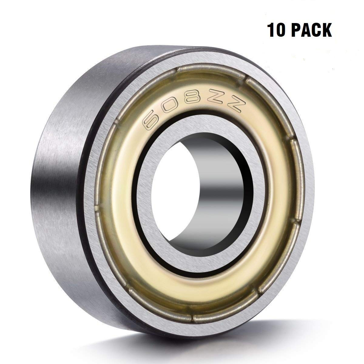 608 ZZ Ball Bearings(10PCS), 608ZZ Metal Double Shielded Miniature Deep Groove Skateboard Ball Bearings (8mm x 22mm x 7mm)